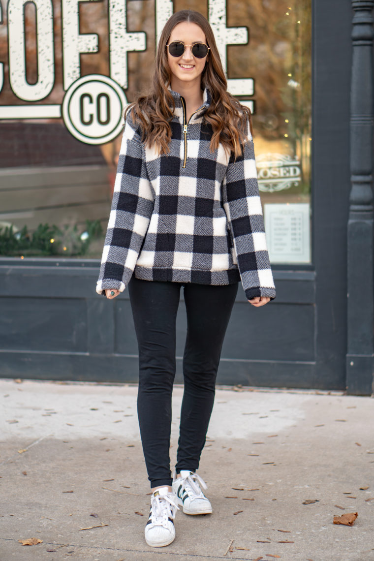 Black & White Buffalo Plaid Pullover - For The Love Of Glitter